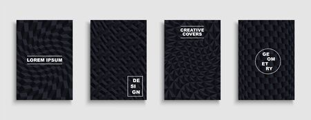 Collection of black textured covers, posters, templates, placards, brochures, banners, flyers, backgrounds. Geometric 3d distorted design with creative dark shapes 向量圖像
