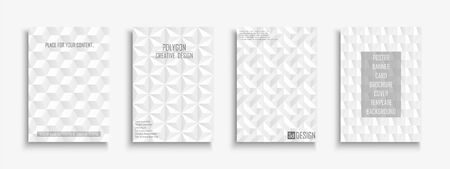 Collection of white textured covers, posters, templates, placards, brochures, banners, flyers, backgrounds and etc. Geometric 3d design with creative shapes.