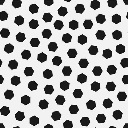 Vector seamless simple pattern. Modern stylish texture with randomly disposed hexagons. Repeating abstract minimalistic background with chaotic dots. Trendy hipster print.