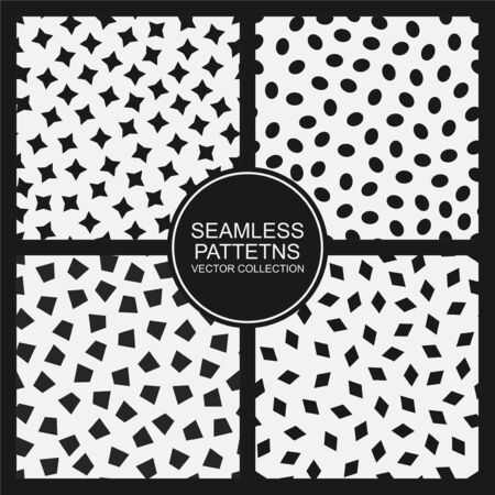 Set of vector seamless simple patterns. Modern stylish textures with randomly disposed shapes. Repeating abstract minimalistic backgrounds. Trendy hipster prints.