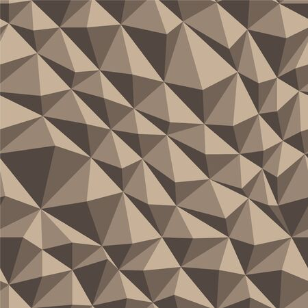 Vector seamless geometric polygonal texture. Distorted beige triangle pattern. 向量圖像