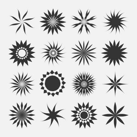 Set of vector creative decorative icons - minimal floral geometric design. Round flower signs