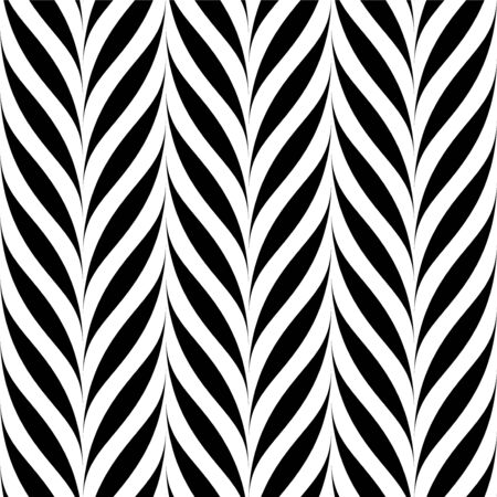 Vector seamless floral pattern. Weave striped black and white texture. Abstract monochrome plant background.