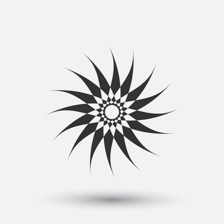 Vector creative icon - sun decorative element, geometric design. Round star sign. 向量圖像