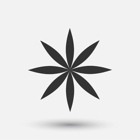 Vector creative icon - floral decorative element, geometric design. Round flower sign. 向量圖像
