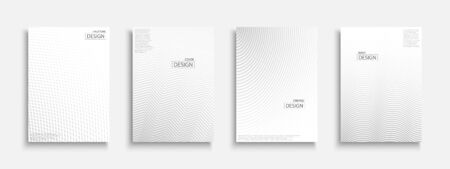 Abstract halftone futuristic templates, posters, placards, brochures, banners, flyers, backgrounds and etc. White and gray textures. Dotted and striped minimalistic contemporary covers 일러스트