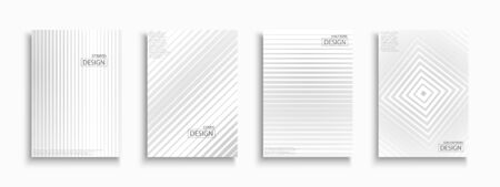 Halftone striped white and gray contemporary templates, posters, placards, brochures, banners, flyers, backgrounds and etc. Paper abstract minimalistic covers