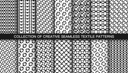 Collection of vector decorative seamless geometric patterns. Textile striped black and white textures. Abstract monochrome fabric backgrounds