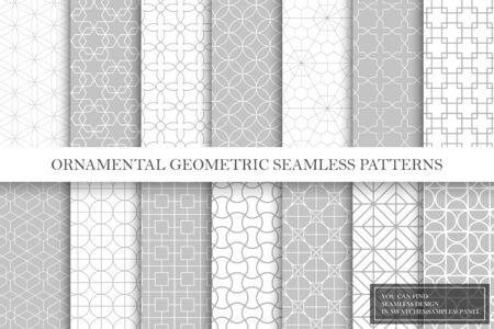 Collection of repeatable geometric ornamental vector patterns. Tile oriental elegant backgrounds. Vintage white and gray textures. You can find seamless design in swatches panel