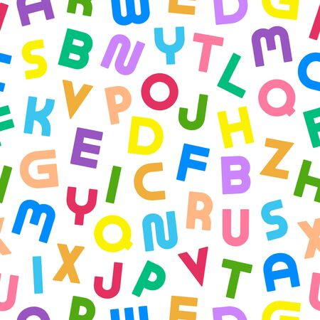Colorful seamless alphabet pattern with bold latin letters. Bright children repeatable background. Funky vibrant print. Can be used like wrapping paper, textile cover, wallpaper and etc Ilustração