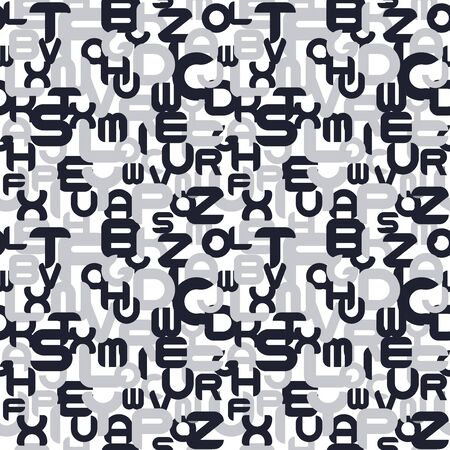 Abstract vector seamless pattern with mosaic latin letters. Endless creative unusual background. Stylish monochrome design