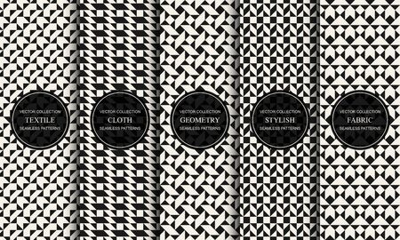Set of vector decorative seamless patterns with geometric creative shapes. Textile striped black and white textures. Abstract monochrome fabric backgrounds