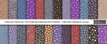 Collection of memphis seamless vibrant patterns. Retro style - fashion 80-90s. Color textures - trendy textile backgrounds. You can find repeatable design in swatches panel