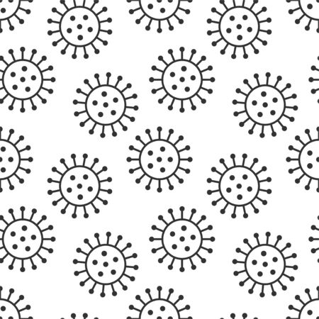 Vector seamless virus pattern. Cartoon black and white cell design. Artistic endless bacteria background