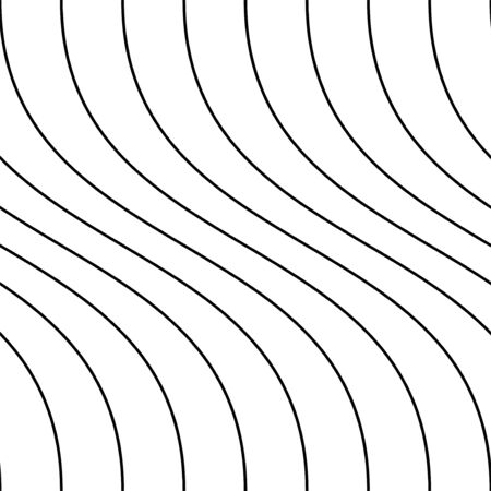 Vector decorative seamless outline pattern. Striped endless wave texture. White repeatable minimalistic background with black wavy lines