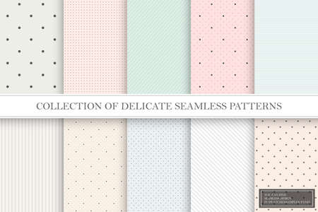 Collection of color repeatable delicate patterns. Dotted, striped tileable textures. You can find seamless backgrounds in swatches panel.