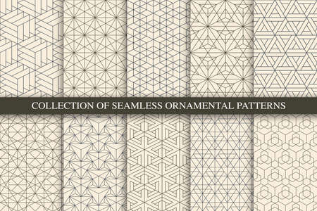 Collection of vector seamless geometric ornamental patterns. Trendy beige oriental backgrounds. Tile mosaic design Vector Illustratie