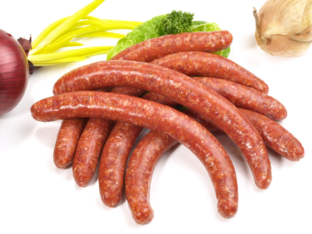 Spanish Sausages on white background