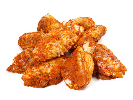 Barbecue - Raw Chicken Wings on white Background Stock Photo