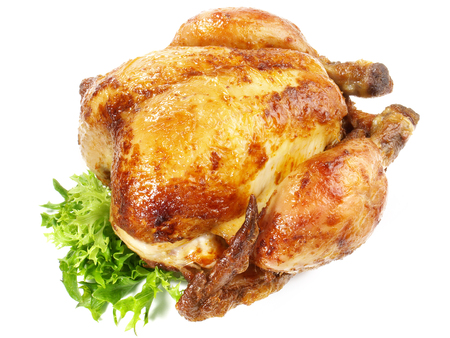 Grilled Chicken on white Background Imagens