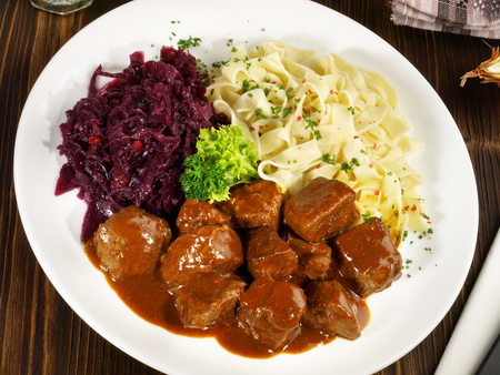German Beef Goulash with Noodles