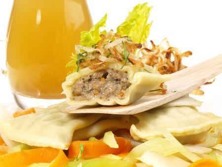 Maultaschen with Meat Stock - Traditional German Style Standard-Bild - 121796460