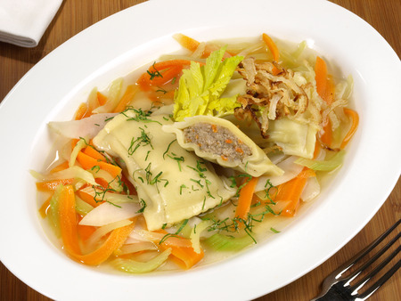 Maultaschen with Meat Stock, Vegetables and Onions