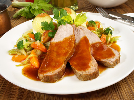 Veal Roast with Vegetables and Potato Dumplings