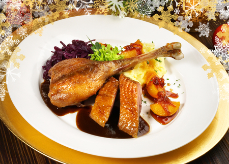 Classic Christmas Goose with red Cabbage and Potato Dumplings