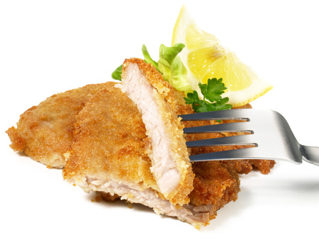 Breaded Schnitzel on a Fork