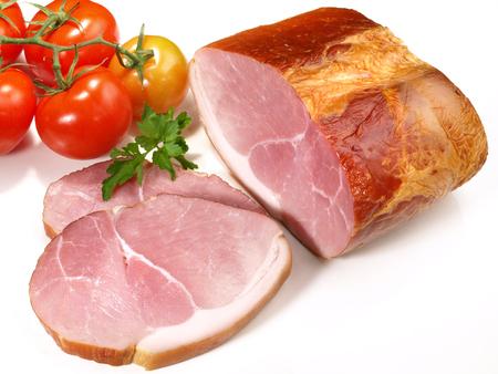 Smoked Ham Roast on white Background