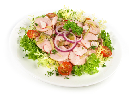 German Sausage Salad with Pickles and Onions