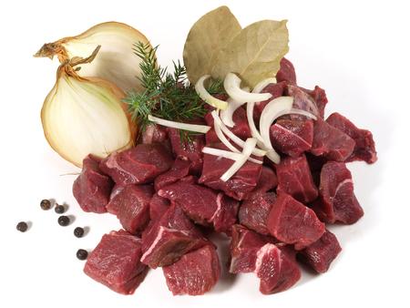 Raw Wild Boar Ragout - Wild Game Meat on white background