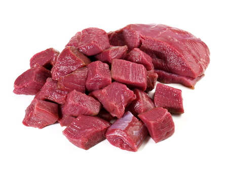 Uncooked Deer Ragout - Wild Game Meat on white Background