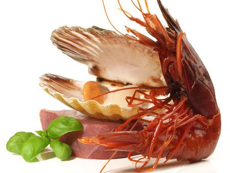 Prawn - Shrimp Carabinero on white Background Stock Photo - 122087713