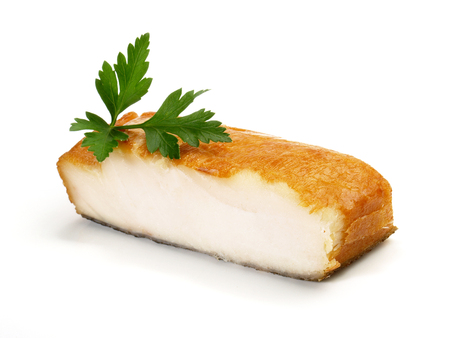 Smoked Halibut Fish Fillet on white Background