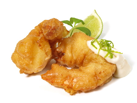 Fried Gamba Shrimp on white Background Stockfoto