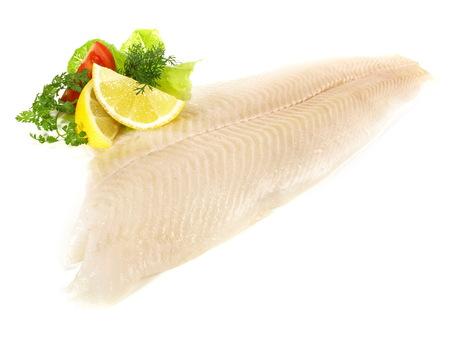 Halibut Fish Fillet on white Background Stock Photo