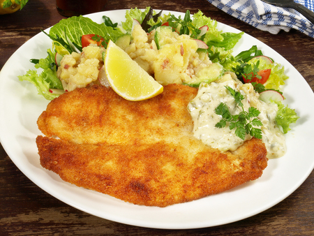 Fried Fish with Potato Salad