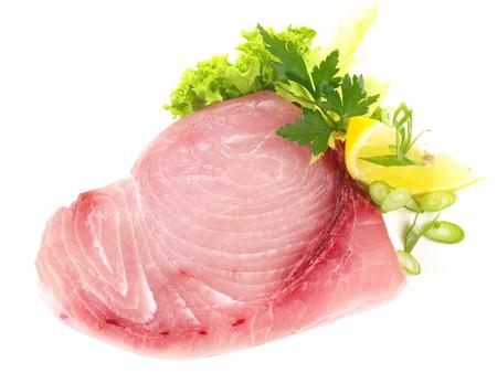 Swordfish Steak on white Background Stock Photo