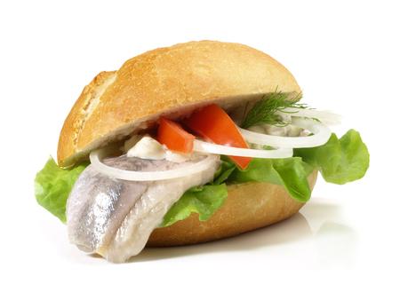 Matjes Herring - Fish Bun on white Background