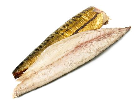 Makerel - Smoked Fish on white Background Reklamní fotografie