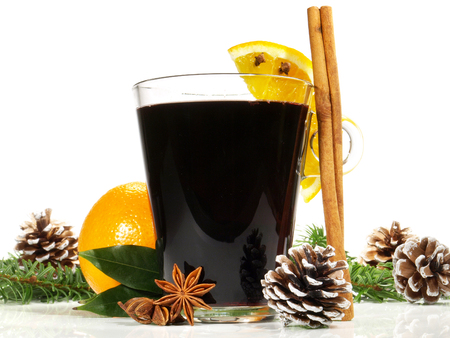 Mulled wine with cinnamon on white background