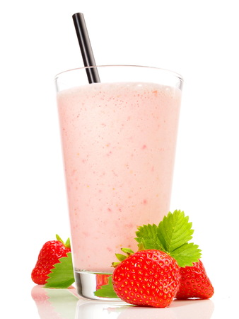 Strawberry Milkshake on white Background