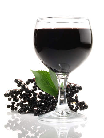 Elderberry Wine on white Background Banco de Imagens
