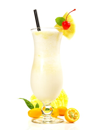 Pina Colada - Coconut Cocktail on white Background