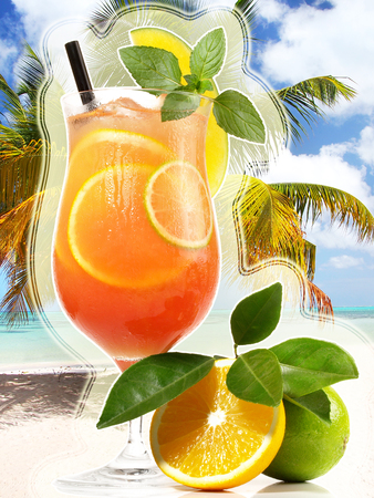 Sex on the Beach Cocktail on white Background