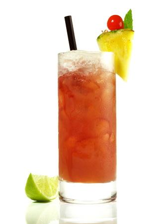 Singapore Sling Cocktail on white Background Stockfoto