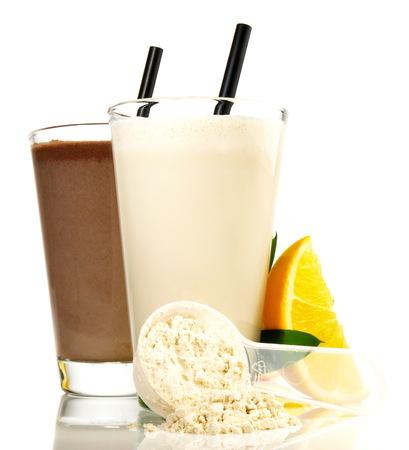 Protein Milkshakes on white Background