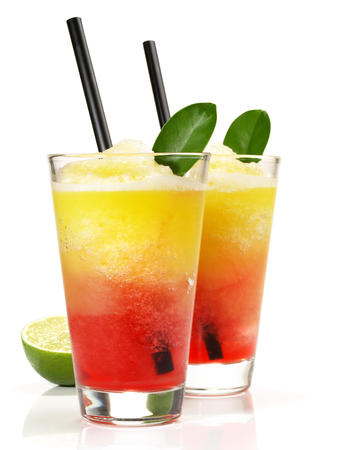 Oarange and Strawberry Margarita on white Background